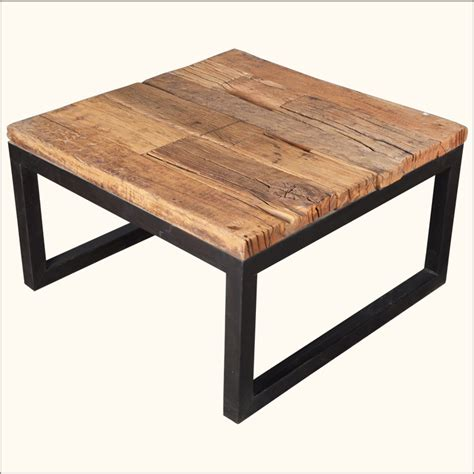 Square Wood And Metal Coffee Table Industrial Iron Reclaimed Railroad Ties Wood Square Coffee Table Furniture Ebay