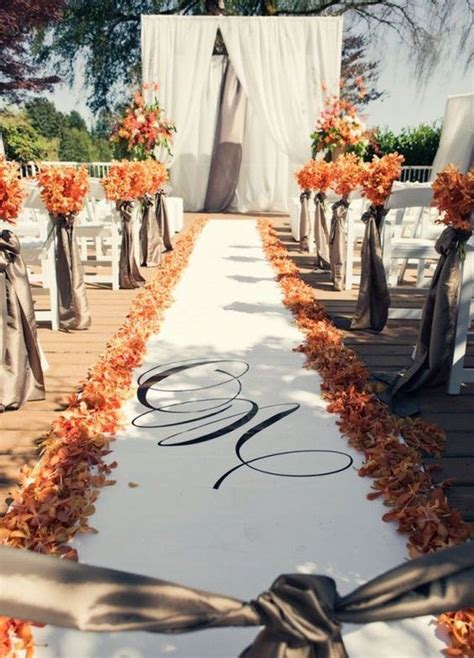 Wedding Aisle Decorations Nz by Fall Orange And White Outdoor Wedding Ceremony