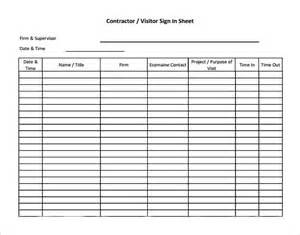 construction sign in sheet template sle visitor sign in sheet 7 documents in word pdf