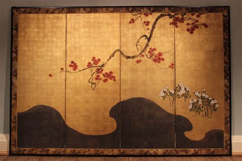 wonderful 19th century japanese folding screen wall hangings