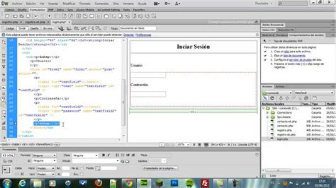 youtube tutorial dreamweaver 8 parte2 sistema de login y registros con php mysql