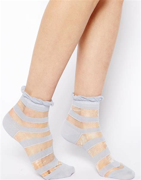 Sheer Socks asos sheer stripe ankle socks in blue lyst