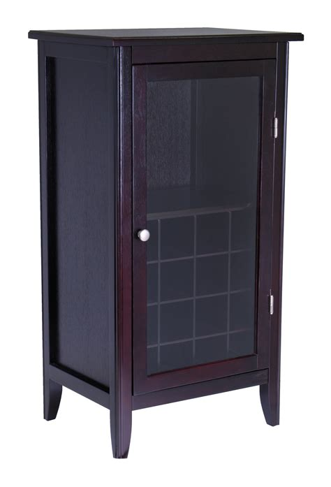 Cabinet With Glass Door Winsome Wine Cabinet 16 Bottle One Door Glass Rack