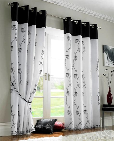black and white curtains tahiti black white voile lined ring top eyelet curtains