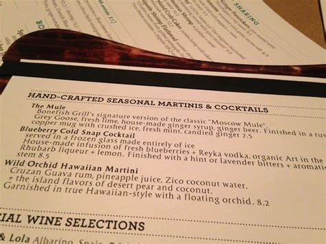 martini price bonefish grill drink menu with prices