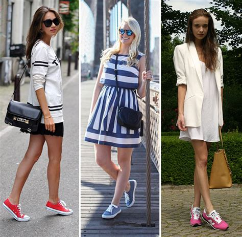 what to wear with sport shoes how to wear sneakers with dresses fashion trends 2016