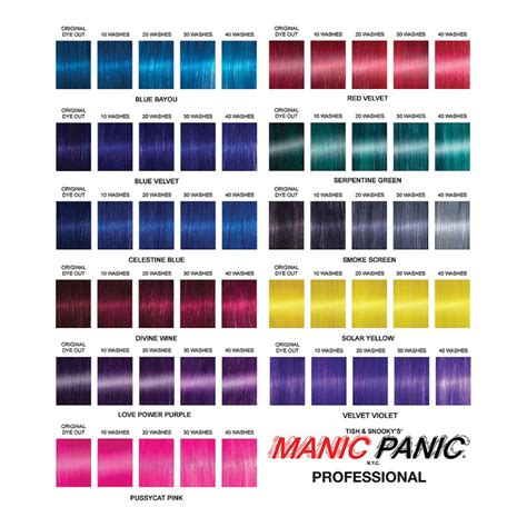 manic panic hair color chart manic panic professional color hair colour dreams