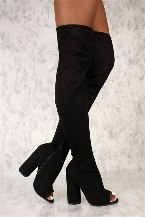 open toe thigh high boots black open toe thigh high circle chunky heel boots