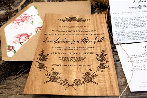 Wedding Invitations With Woods Themes by Matt S Rustic Floral Wood Veneer Wedding Invitaions