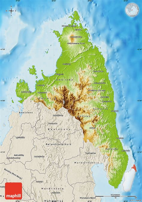 physical map of madagascar physical map of antsiranana shaded relief outside