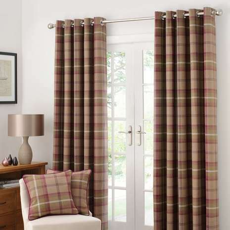 dunelm ready made eyelet curtains highland check plum lined eyelet curtains dunelm