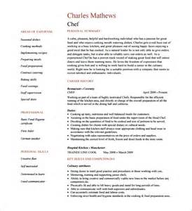 chef resume template 12 free word excel pdf psd