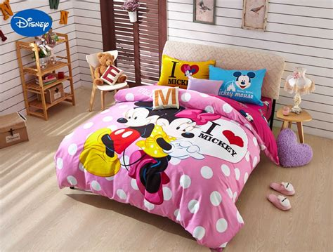disney print bedding set cotton pink polka dot