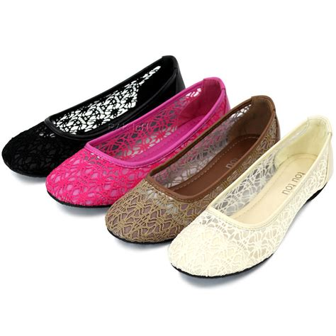 flat shoes womens ballet lace mesh flat slip on shoes casual dress