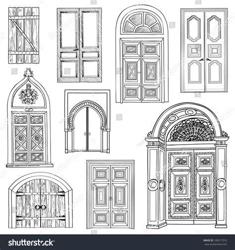 door sketch door set collection sketch stock vector 189517310