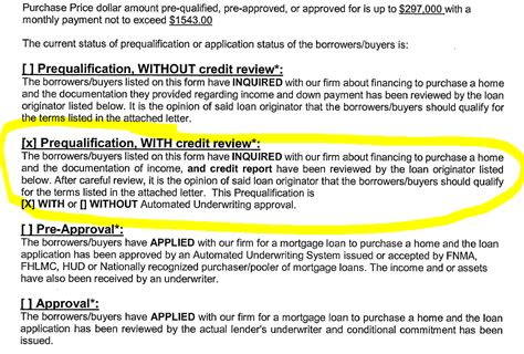 pre approval letter seller wanted preapproval and would not accept len 1543