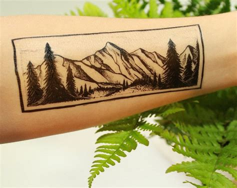 forest scene tattoo amazing temporary mountain and pine tree forest
