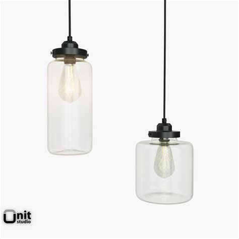 glass jar pendant light 3d model