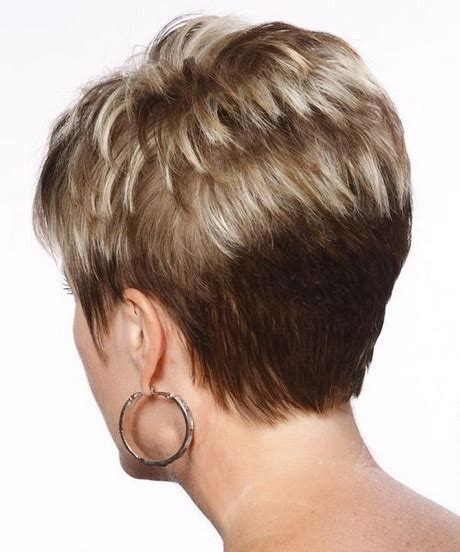 front and back views of chopped hair back view of short pixie hairstyles
