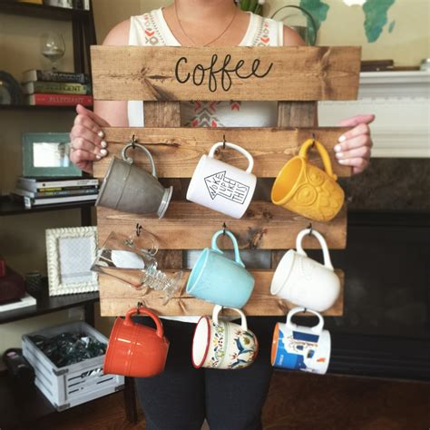 Coffee Cup Hooks Kitchen by Coffee Mug Rack Reclaimed Wood Look Coffee Cup By