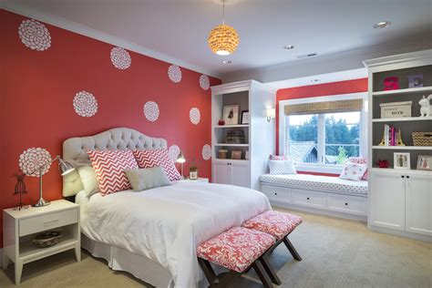 coral bedroom walls accent wall in kids room contemporary girl s room