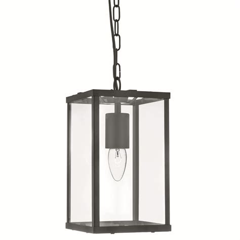 4 sided glass ceiling light lantern 1 light black