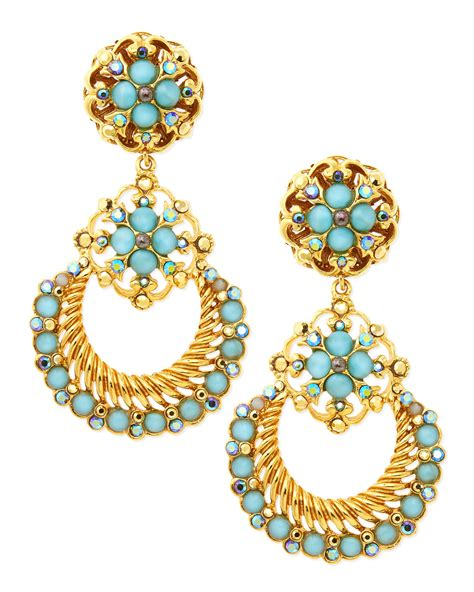 Austria Earrings 24k Yellow Gold Plated Earings Aquamarine jose barrera 24k gold plate chandelier clipon