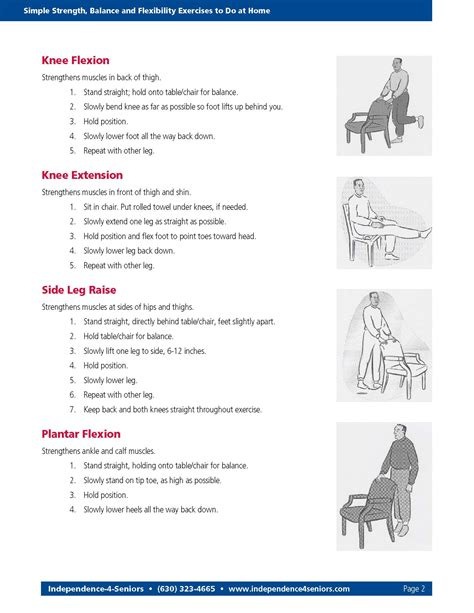 printable home exercise program for elderly simple strength balance and flexibility exercises to do