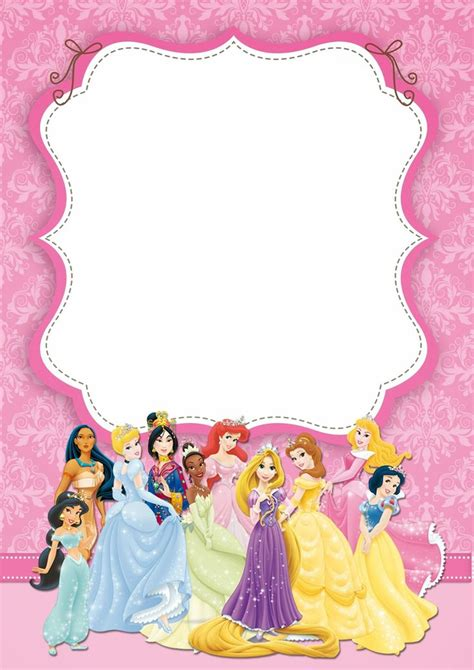 princess birthday card template disney princess invitations disney princess