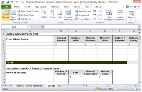 Personal Assets And Liabilities Statement Template simple personal finance statement template for excel