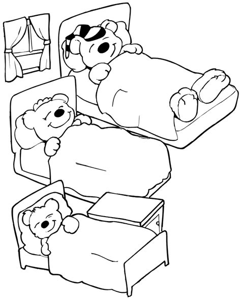 Three Bears Coloring Page | goldilocks puppet coloring pages coloring pages