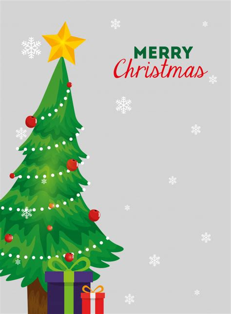 merry christmas card  pine tree  gift boxes vector