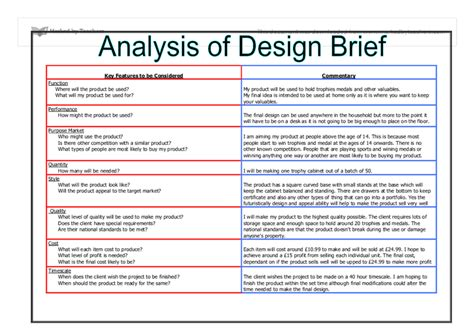 Analysis Briefformat Analysis Of Design Brief Gcse Design Technology Marked By Teachers
