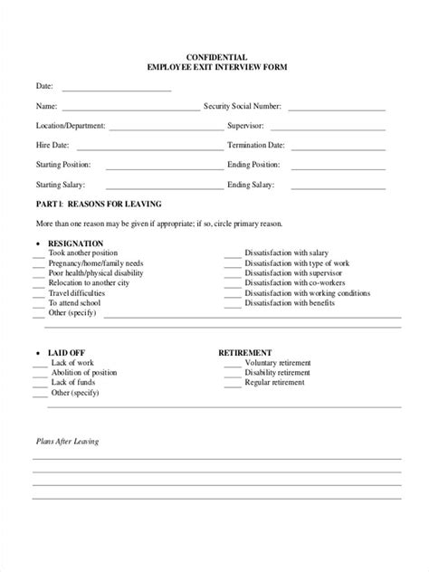 Exit Interview Questionnaire Form 8 Free Documents In Word Pdf Questionnaire Template For Employees