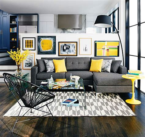 Grey living room decor with pops of yellow picsdecor com
