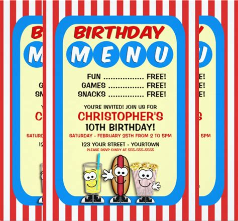 birthday menu templates 19 free psd eps indesign
