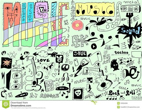 musical doodle free mp3 doodles background royalty free stock image