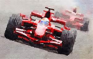 Car Duvet Ferrari F1 Race Watercolor Painting By Naxart Studio
