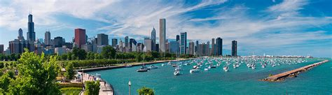 boat city usa radio commercial chicago skyline daytime panoramic photograph by adam