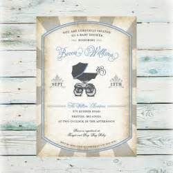printable vintage baby buggie baby shower invitation digital