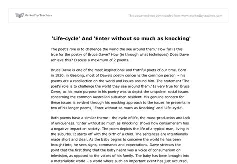 Bruce Dawe Essay by Cycle And Enter Without So Much As Knocking Gcse Marked By Teachers