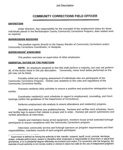 sle correctional officer description 7 exles