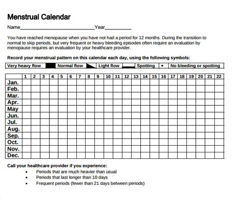 Menstruation Calendar Sle Menstrual Calendar Template 6 Free Documents In