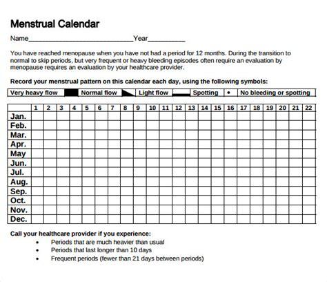 Sample Menstrual Calendar | Menstrual Calendar Template Baixar Calendario Menstrual Para Baixar