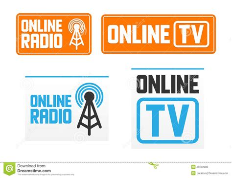 radio online online radio and tv signs stock vector image of
