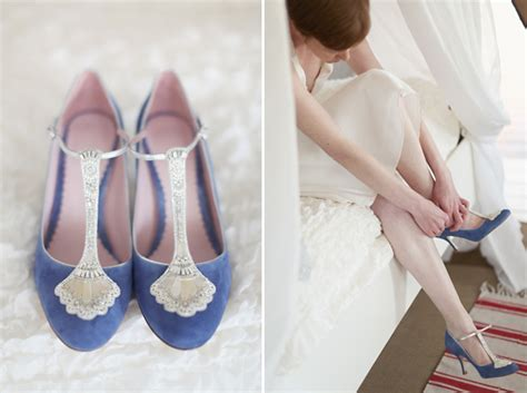 blue wedding shoes a dress and tipis for a humanist