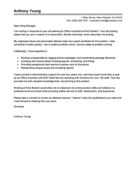 best office assistant cover letter exles livecareer