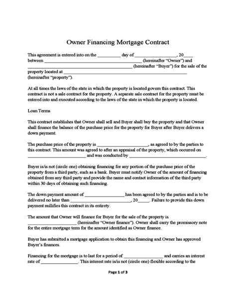 owner financing contract template owner financing mortgage contract sle free