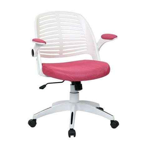 pink office chair with frame in white tyla26 w261