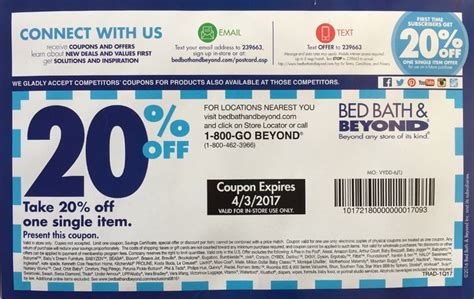 20 coupon for bed bath and beyond bed bath and beyond coupon 20 off any item in store bed